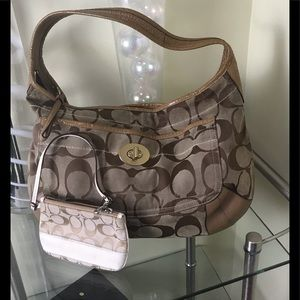 COACH large Signature CC shoulder bag + Wristlet